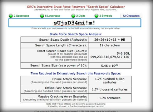 SJEKK SELV:  På denne siden kan du se hvor lang tid det typisk vil ta å «brute-force» seg frem til et passord med variabel lengde og tegnsett.