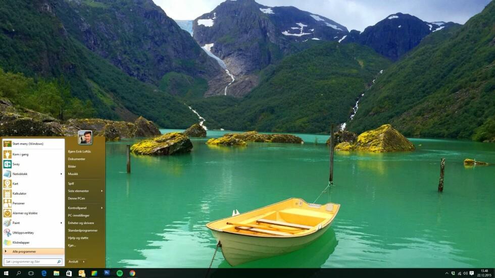 Voila! Slik ser skrivebordet ut etter installasjonen av Classic Start Menu.
