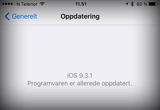 ER DU OPPDATERT? På iPhone, kan du gå til Innstillinger > Generelt > Oppdatering for å se om det ligger en ny oppdatering og venter på å bli installet. Foto: KIRSTI ØSTVANG