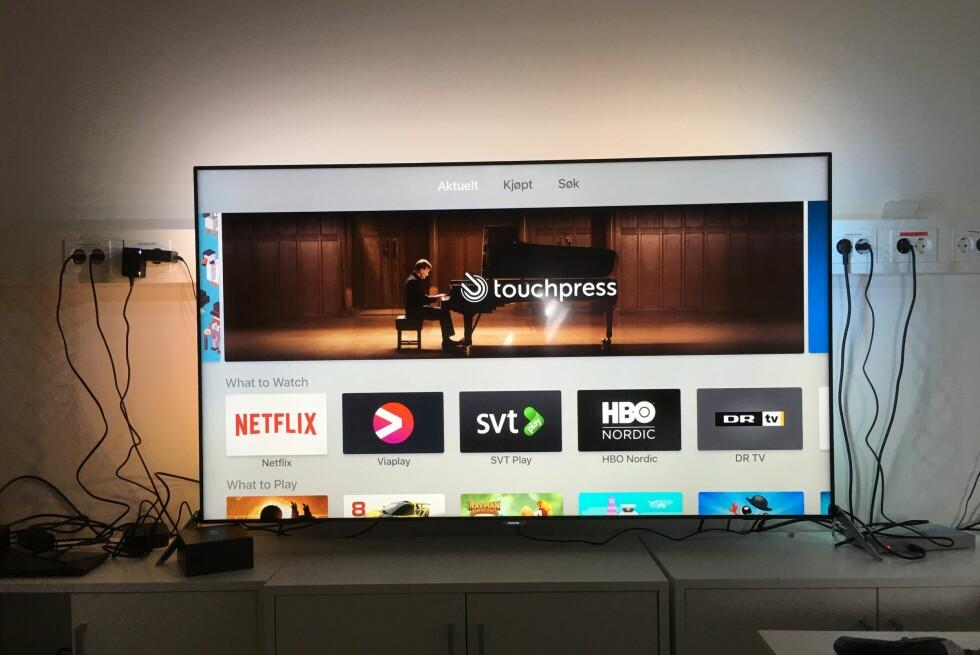 NÅ MED APPER: Årets Apple TV-utgave har en egen app-butikk der det for tiden befinner seg rundt 3.000 apper. Vi har plukket ut noe av våre favoritter. Foto: PÅL JOAKIM OLSEN