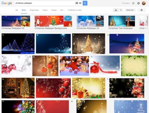 """MYE PÅ NETT: Et søk etter """"christmas wallpaper"""" gir mange fine bilder som kan egne seg til julekort."""