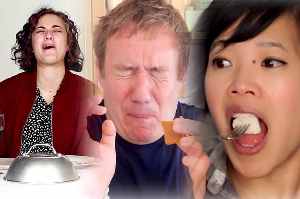 <B>SJOKK OG VANTRO: </B>Ikke alt faller i smak når folk fra hele verden smaker norsk mat for første gang.  Foto: YOUTUBE / OLE PETTER BAUGERØD STOKKE