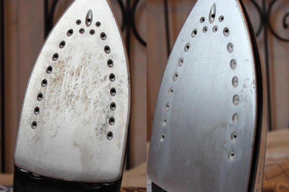 RENGJØRE STRYKEJERN? Se hvilket kjerringråd vi anbefaler for å få strykejernet rengjort, som til høyre på bildet. Foto: BERIT B. NJARGA