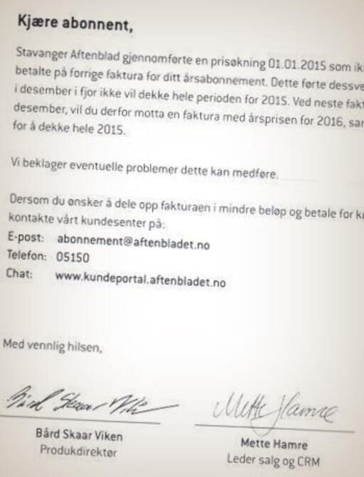 BEKLAGER: Aftenbladet beklager i brevet, men skriver at de kommer til å kreve den økte prisen dekket inn ett år etter første avis ble levert.  Foto: PRIVAT