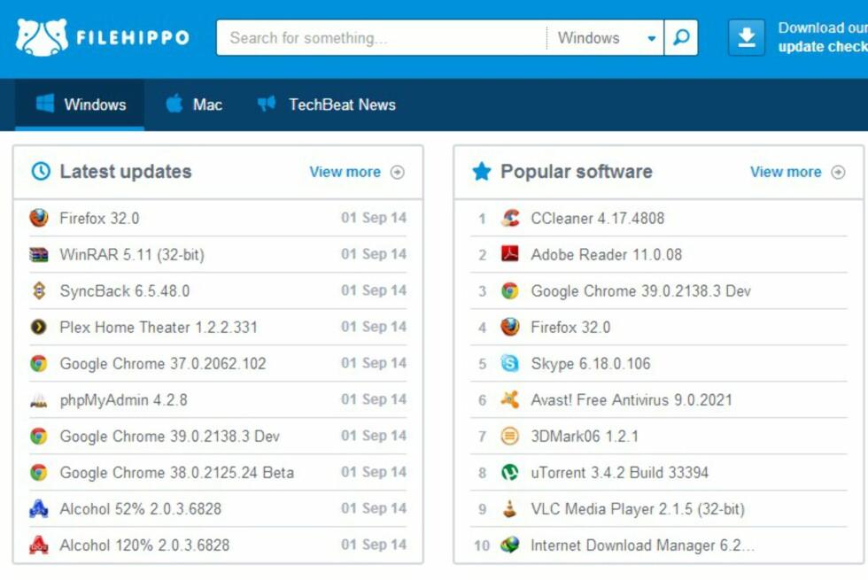 Filehippo.com er et fint sted å lete etter gratisprogrammer. De har også en egen oppdateringssjekk som sørger for at du alltid har siste versjon av programmene.