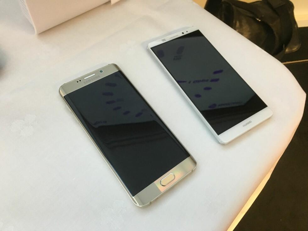 Mobilene Samsung Galaxy S6 Edge og Huawei Ascend Mate 8 støtter 4,5G. Foto: BJØRN EIRIK LOFTÅS