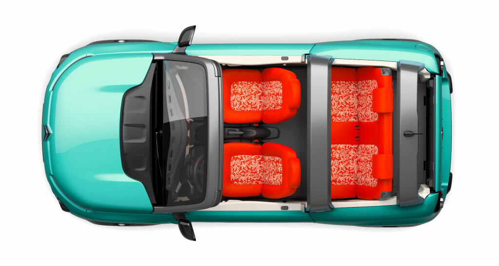4-SETER: Citroën e-Méhari har en bank bak som kan foldes ned, og fire sitteplasser totalt. Foto: CITROËN