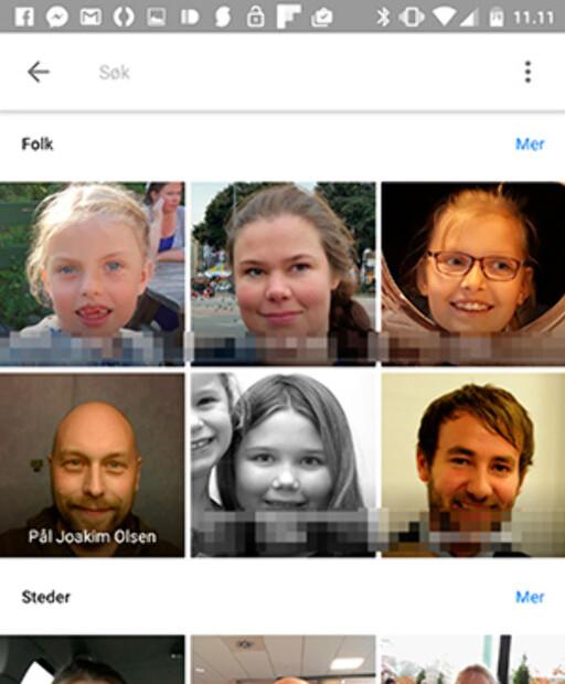 GRUPPERER ANSIKTER: Nå kan du trykke på en person i Google Foto og få opp alle bildene du har tatt av vedkommende. Foto: PÅL JOAKIM OLSEN