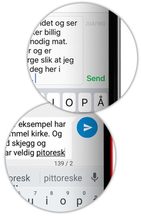 <strong><b>TELL SELV:</strong> </B>Ved å følge med på nedtellingen i SMS-appen din kan du se hvor mange SMS-er du er i ferd med å sende. På iPhone (øverst) må du dele de to tallene selv for å telle antall SMS. Foto: OLE PETTER BAUGERØD STOKKE
