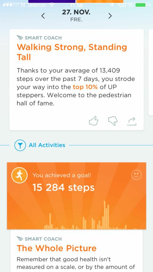 MOTIVERNEDE: Appen gir deg motiverende info om ditt aktivitetsnivå.