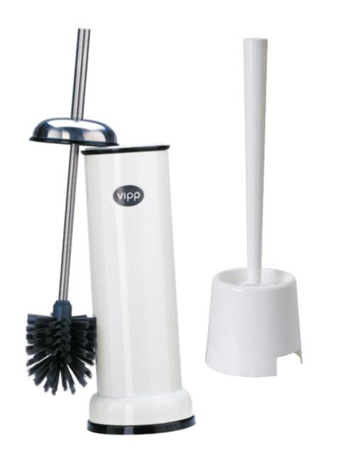 BILLIG ELLER DYR? Du får kjøpt toalettbørster i alle prisklasser. IKEA har en til under ti kroner, mens Vipp tar 1.500 kroner for sine, som for øvrig har utskiftbare børster. Foto: VIPP/IKEA