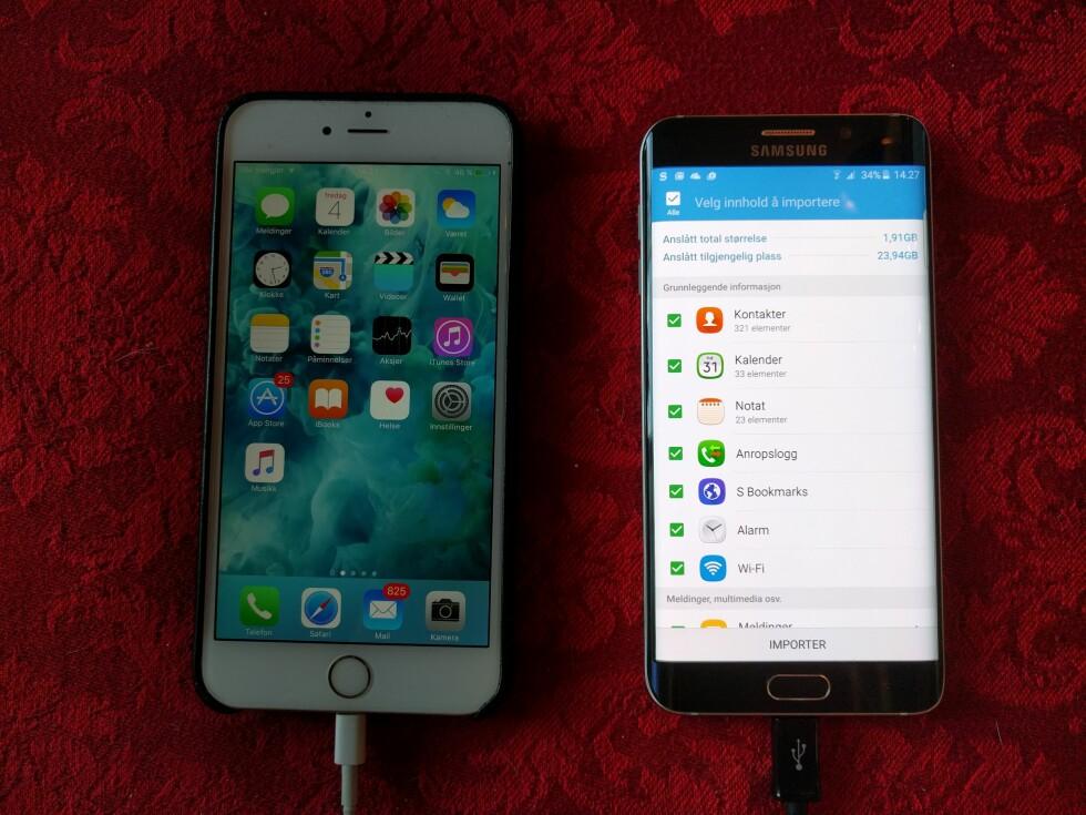 HENTER ALT: Alt av kontakter, SMS-meldinger, bilder, video og annet blir overført til den nye telefonen med Smart Switch. Foto: PÅL JOAKIM OLSEN