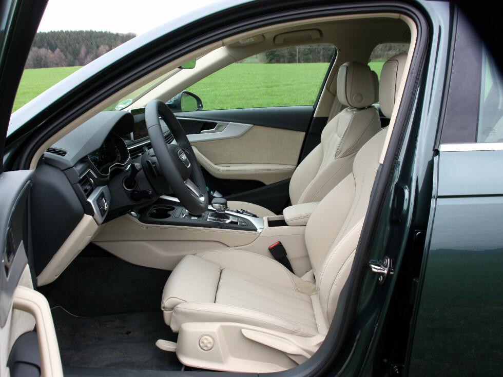 KOMFORTABEL: De fleste vil kunne finne en god sittestilling i Audis nyeste. Foto: KNUT MOBERG