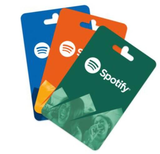 MUSIKK: Spotify-gavekort finner du mange steder. Foto: SPOTIFY
