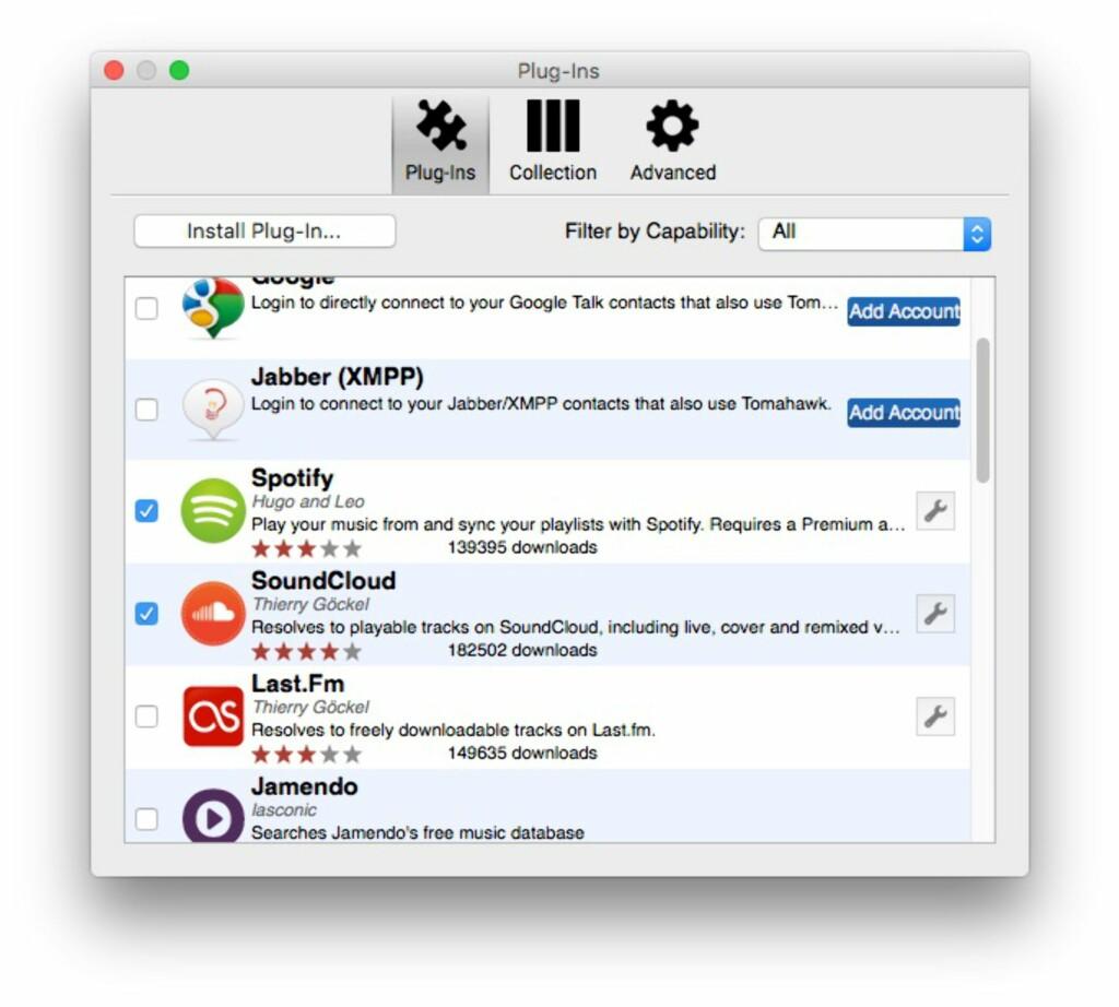 FYLL PÅ: Via plug-insmenyen, kan du koble flere tredjepartstjenester til Tomahawk-avspilleren. Foto: PÅL JOAKIM OLSEN