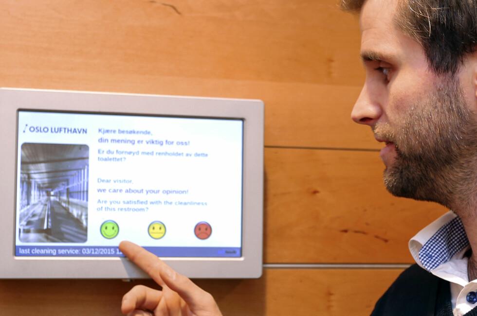 PASSASJERSTYRT PÅ DO: OSL lanserer «passasjerstyrt renhold» på toalettene. Det er der du kommer inn ... Foto: OSLO LUFTHAVN AS