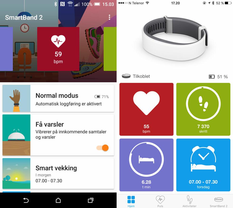 ROTETE: Ikke bare ser SmartBand 2-appene forskjellig ut på Android og iPhone, de har ikke samme funksjoner engang. Har du Android, må du faktisk installere enda en app, kalt LifeLog.  Foto: KIRSTI ØSTVANG