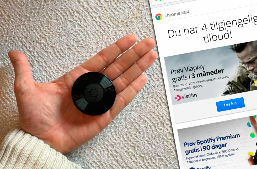 TILBUD: Chromecast-eiere får stadig nye tilbud, men de er ikke så lett å finne hvis ikke du vet hvordan. Foto: PÅL JOAKIM OLSEN