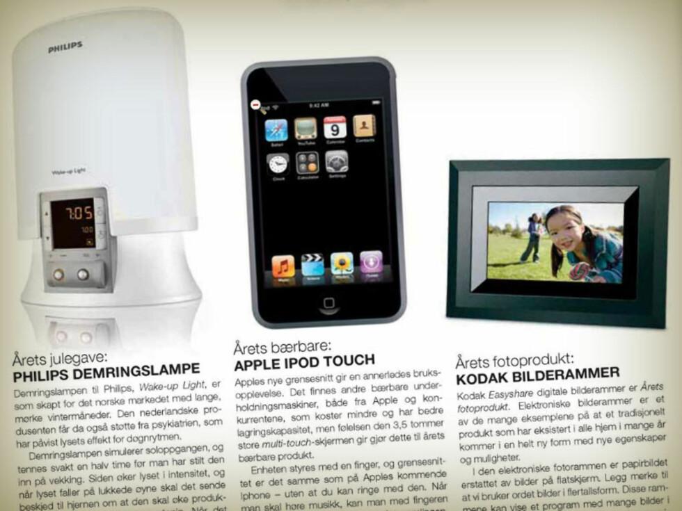 VINNER 2007: Vekkerklokke med lys, sammen med blant annet iPod Touch og digitale bilderammer. Foto: ELEKTRONIKKBRANSJEN