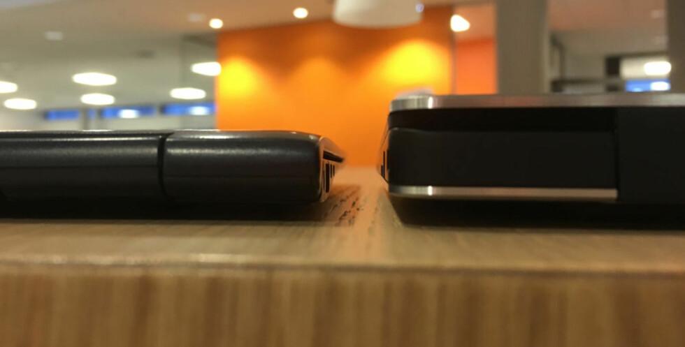 Den er kanskje minst, men ikke tynnest. Samsung 9 Serie til venstre, XPS 13 til høyre (sett bakfra) Foto: BJØRN EIRIK LOFTÅS