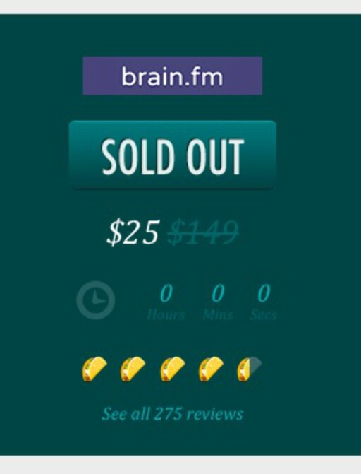 GOD KRITIKK: Appsumo-brukerne gav brain.fm 4,5 av 5 mulige tacoskjell forleden dag.