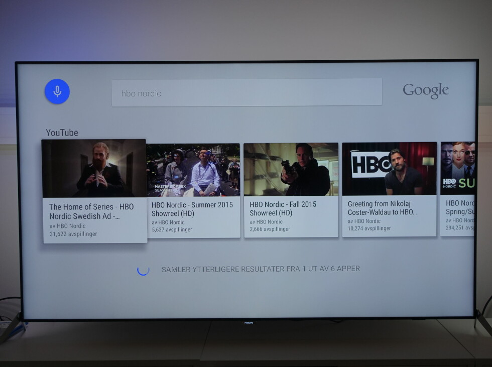 STEMMESØK: Her søkte vi etter HBO Nordic, men ingen App ble funnet. Alle resultatene er YouTube-klipp der HBO er nevnt i navnet/beskrivelsen. Foto: ØYVIND PAULSEN