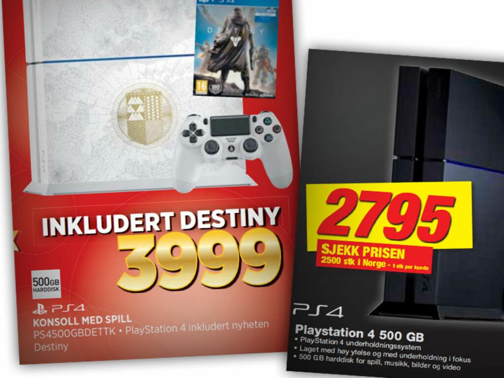 PLAYSTATION 4: Expert selger en utgave av Playstation 4 hvor ikke bare spillet Destiny følger med, men hvor også konsollen er malt i Destiny-stil. Elkjøps er langt billigere, men da uten hverken spill eller farge. Prisforskjellen er langt høyere enn prisen for spillet, som Expert selger til 268 kroner. Foto: OLE PETTER BAUGERØD STOKKE