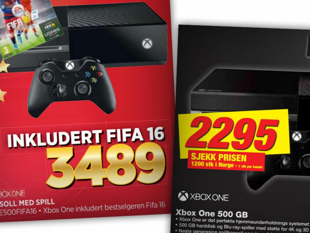 XBOX ONE: Hos Expert følger spillet Fifa 16 med, mens du hos Elkjøp bare får spillkonsollen. Fifa 16 koster hos Expert.no 532 kroner. Foto: OLE PETTER BAUGERØD STOKKE