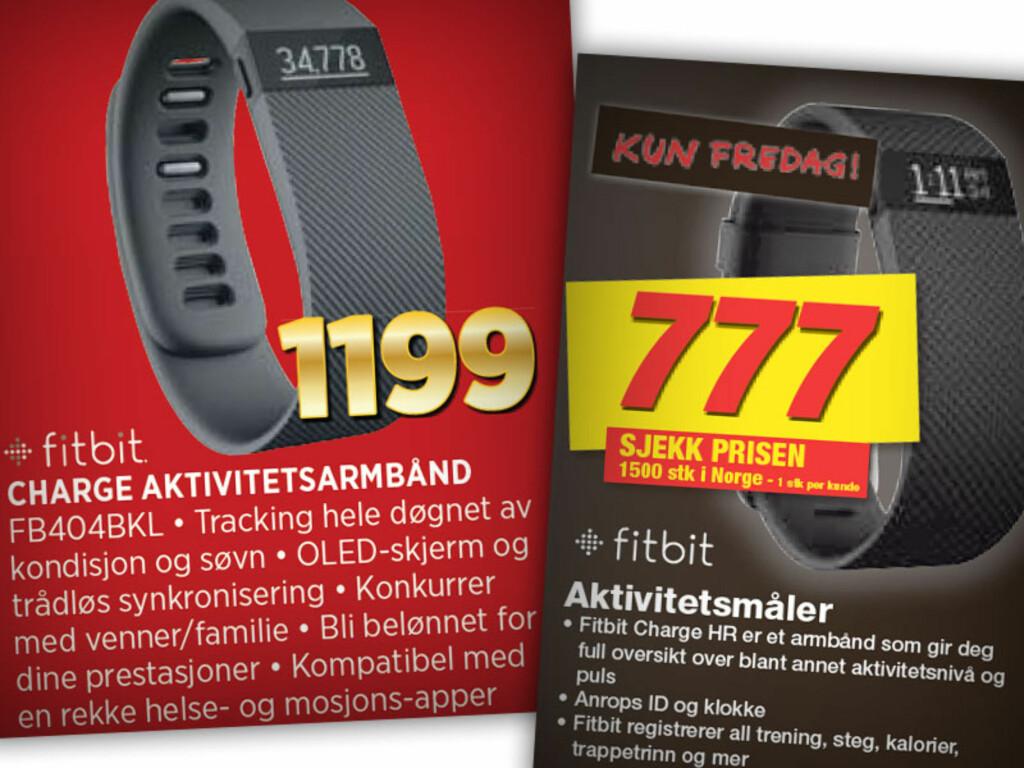 FITBIT: På venstre side ser du Experts Fitbit Charge, på høyre siden Elkjøps Fitbit Charge HR. HR betyr at den har pulsmåler, og er i utgangspunktet en dyrere dings enn Experts, men selges likevel billigere  Foto: OLE PETTER BAUGERØD STOKKE