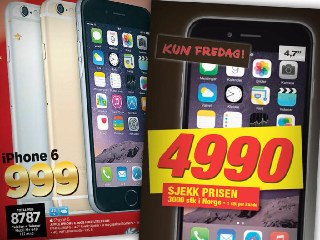 IPHONE 6: Expert selger telefonen med abonnement, mens Elkjøp selger den uten. Se på totalprisen hva som virkelig lønner seg for deg.  Foto: OLE PETTER BAUGERØD STOKKE