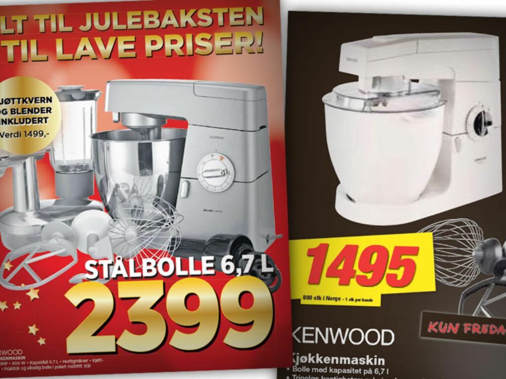 KENWOOD KJØKKENMASKIN: Expert sin har metallbolle og inkluderer kjøttkvern og blender, mens Elkjøp sin er enklere og dermed billigere.  Foto: OLE PETTER BAUGERØD STOKKE