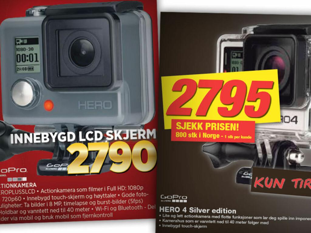 GOPRO: Disse to Gopro-kameraene har nesten identisk pris, og ser ganske like ut, men det er snakk om to helt forskjellige utgaver: Hero+ hos Expert, og den langt dyrere Hero 4 Silver hos Elkjøp. Foto: OLE PETTER BAUGERØD STOKKE