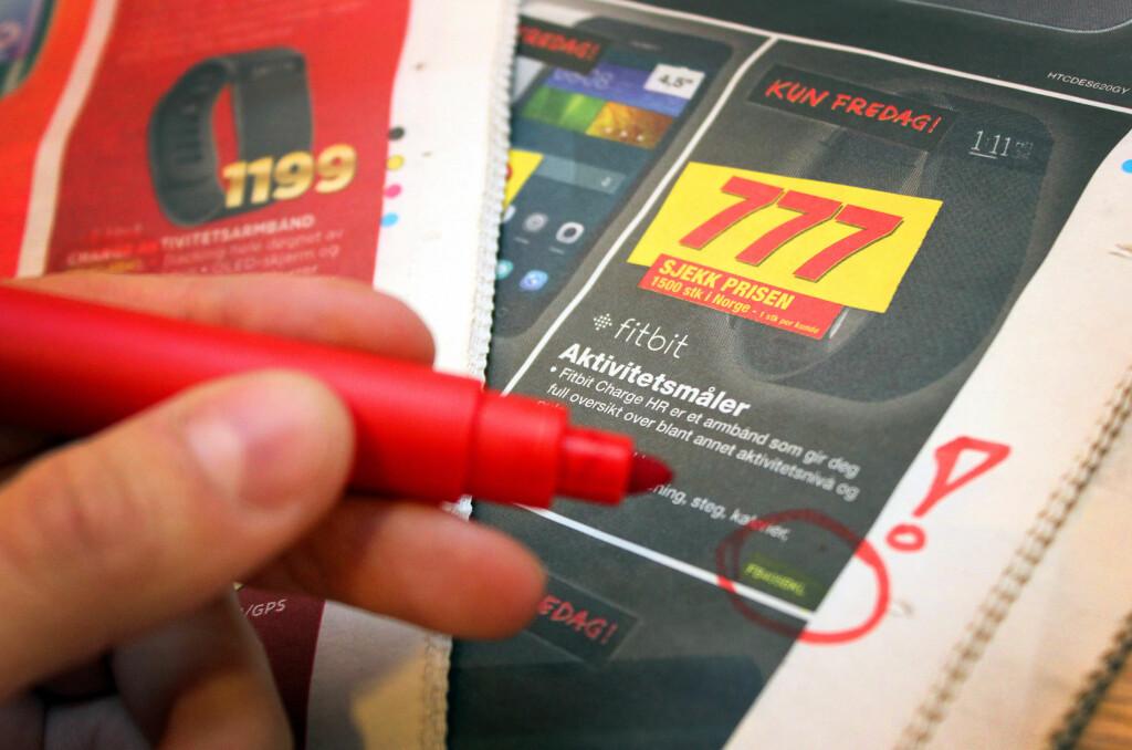 <B>SJEKK KODEN: </B>Her annonserer både Elkjøp og Expert for en Fitbit Charge, men to ulike modeller av den. Hvilken kan avsløres av produktkoden du finner i liten skrift.  Foto: OLE PETTER BAUGERØD STOKKE