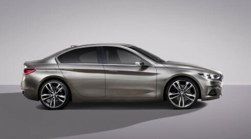 KOMPAKT: Sett i profil virker ikke BMW-en særlig stor - men produsenten forsikrer at det er god plass også bak. Dimensjonene er ikke kommunisert. Foto: BMW