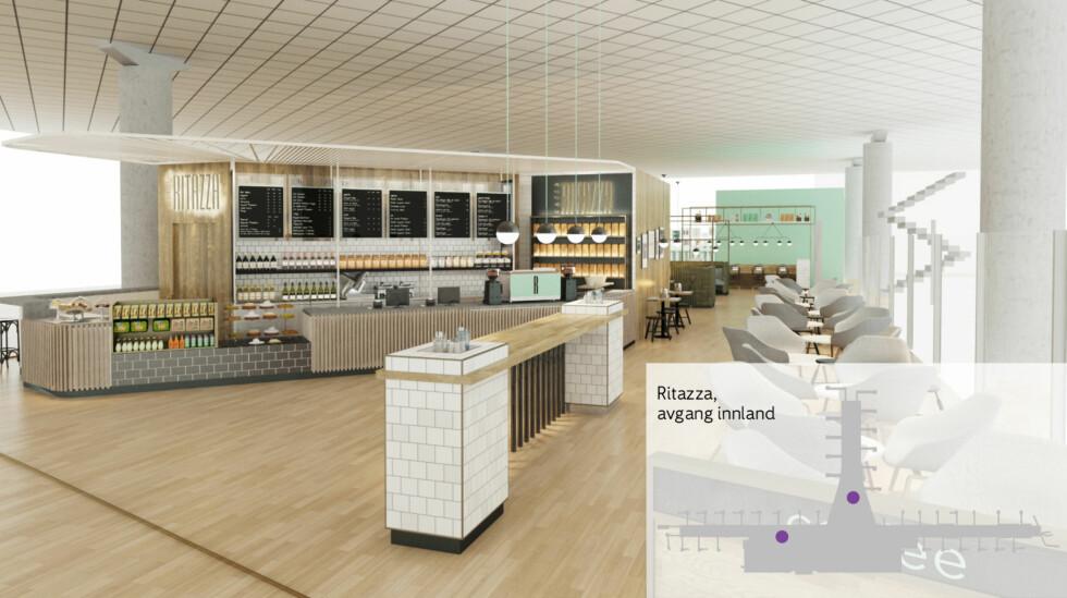 Ritazza: Kaffebar med italienskinspirert mat og bakervarer. Serverer også italienske småretter og øl/vin. Foto: UXUS