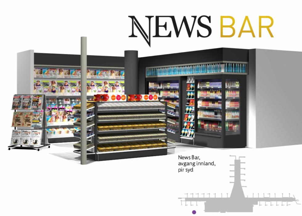 News Bar: Bar og kiosk med siste-øyeblikk-produkter.  Foto: GRID