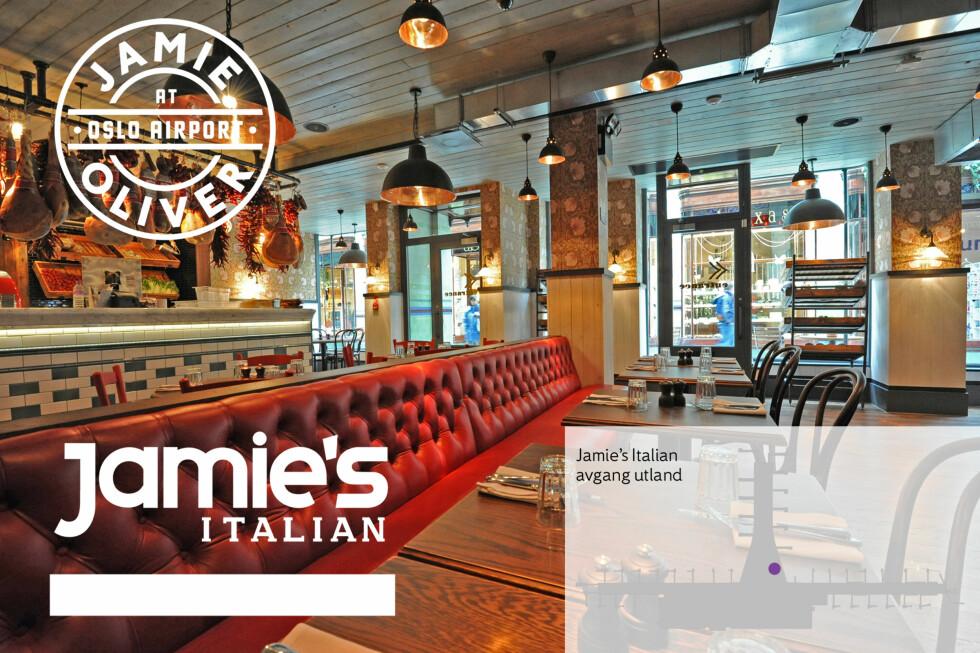 Jamies Italian: Britisk restaurantkjede. Italiensk stemning møter skandinavisk enkelhet. Menyen er en miks av tradisjonelt italiensk kjøkken og moderne retter med Jamies og Gennaros vri.  Foto: THE STUDIO, JAMIE OLIVER RESTAURANT GROUP