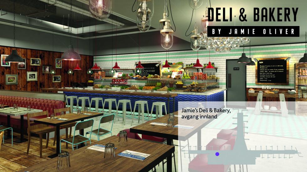 Jamie's Deli & Bakery: Vil servere salater, antipasti, ferskt tilberedt kjøtt av ulik art, hjemmelaget pizza og sandwicher.  Foto: THE STUDIO, JAMIE OLIVER RESTAURANT GROUP