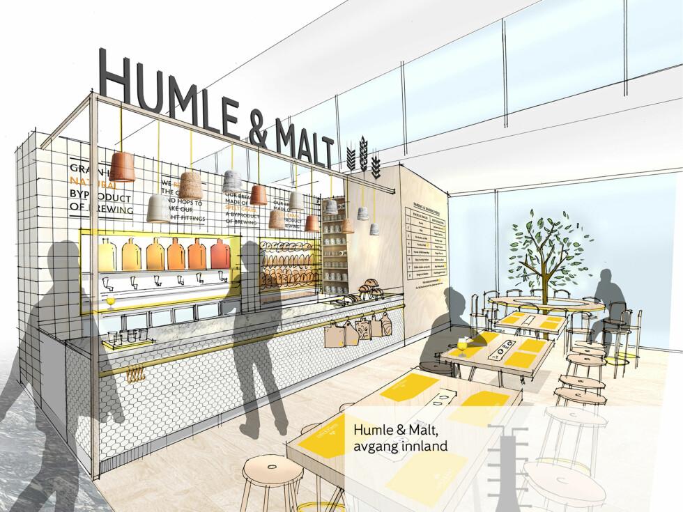 Humle & Malt: Tilbyr lokalt brygget øl med ulike smaker og tappet av spesialister (som heter Humler).  Foto: TWELVE STUDIO