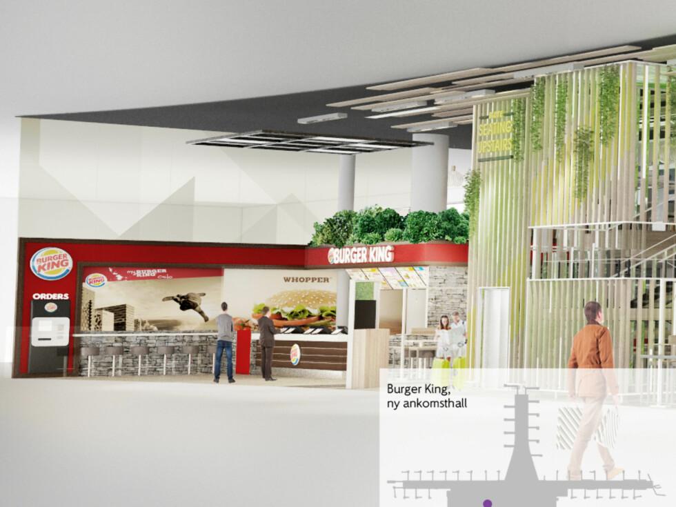 Burger King åpner i ankomsthallen. Foto: IDEO CONCEPT