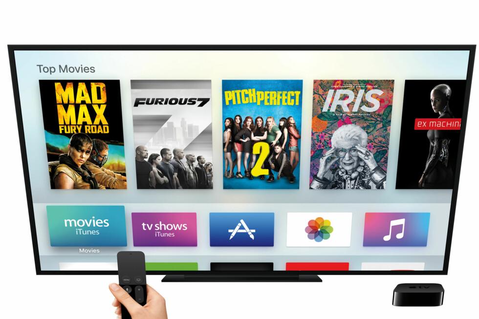 DEN SVARTE BOKSEN: Nnye Apple TV ser ganske lik ut som før, men det er langt flere ting du kan gjøre med den sammenlignet med forrige generasjon. Foto: APPLE