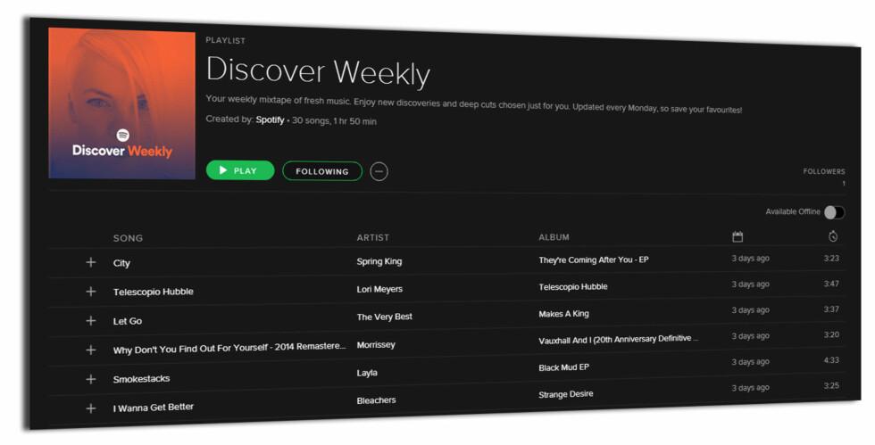 PERSONLIGE ANBEFALINGER: Discover Weekly disker ukentlig opp med nye låter bare for deg. Foto: KIRSTI ØSTVANG