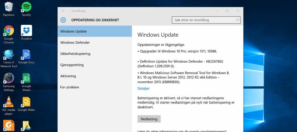 <B>WINDOWS UPDATE</B>: Den første store oppdateringen til Windows 10 kan nå lastes ned fra Windows Update.