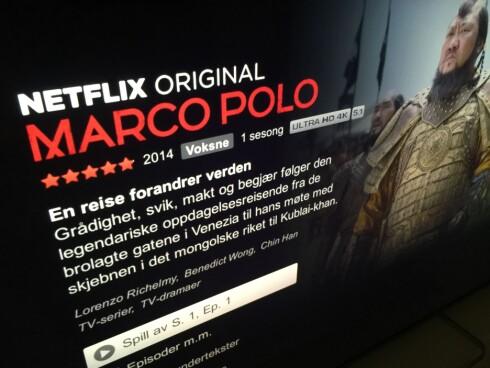 <strong><strong>4K på Netflix:</strong></strong> Marco Polo er én av TV-seriene på Netflix som er tilgjengelig med 4K-oppløsning. Foto: ØYVIND PAULSEN