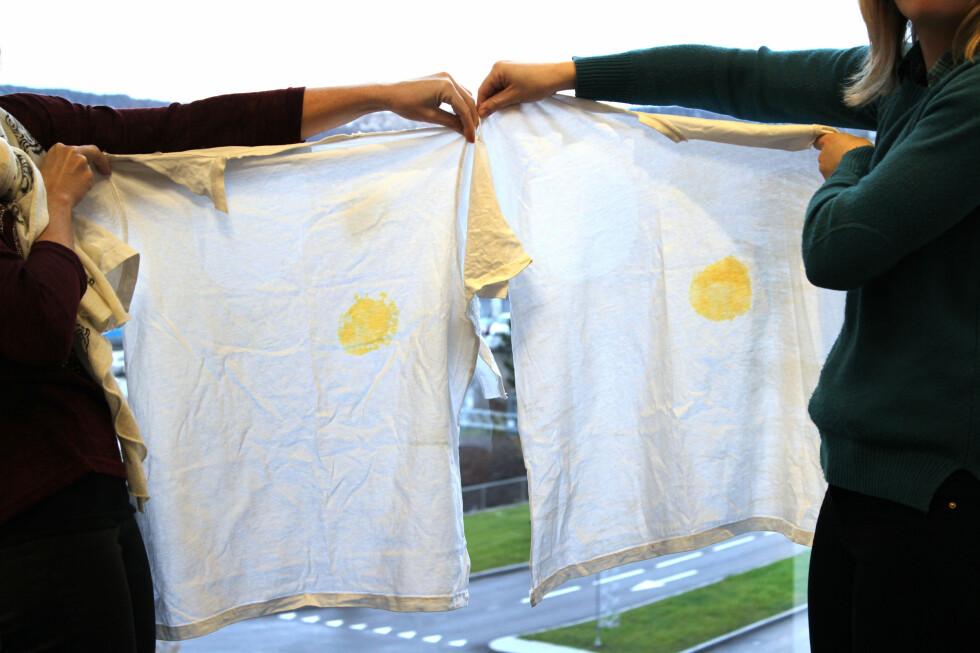 ETTER VASK: Og slik ser det ut etter vask. Skjorten som er vasket med Vanish til høyre. Foto: OLE PETTER BAUGERØD STOKKE
