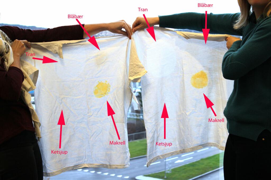 SER DU FLEKKENE? Skjorta vasket med Vanish til høyre. Foto: OLE PETTER BAUGERØD STOKKE