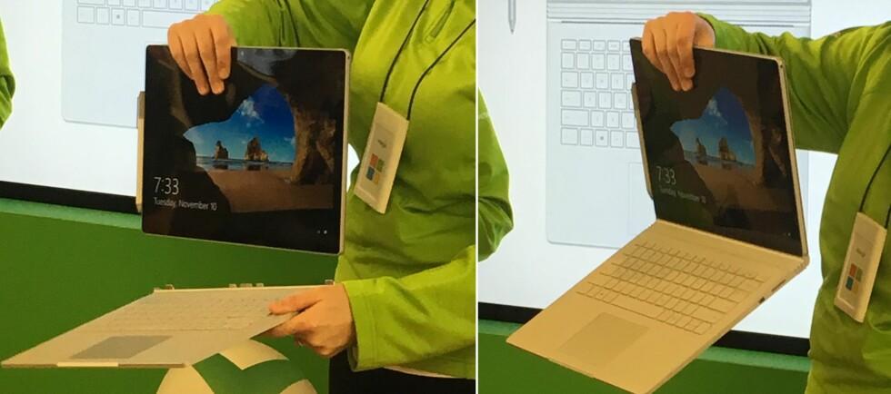 Låsen sørger for at det ikke er fare for at skjermen løsner fra tastaturet ved et uhell. Foto: BJØRN EIRIK LOFTÅS