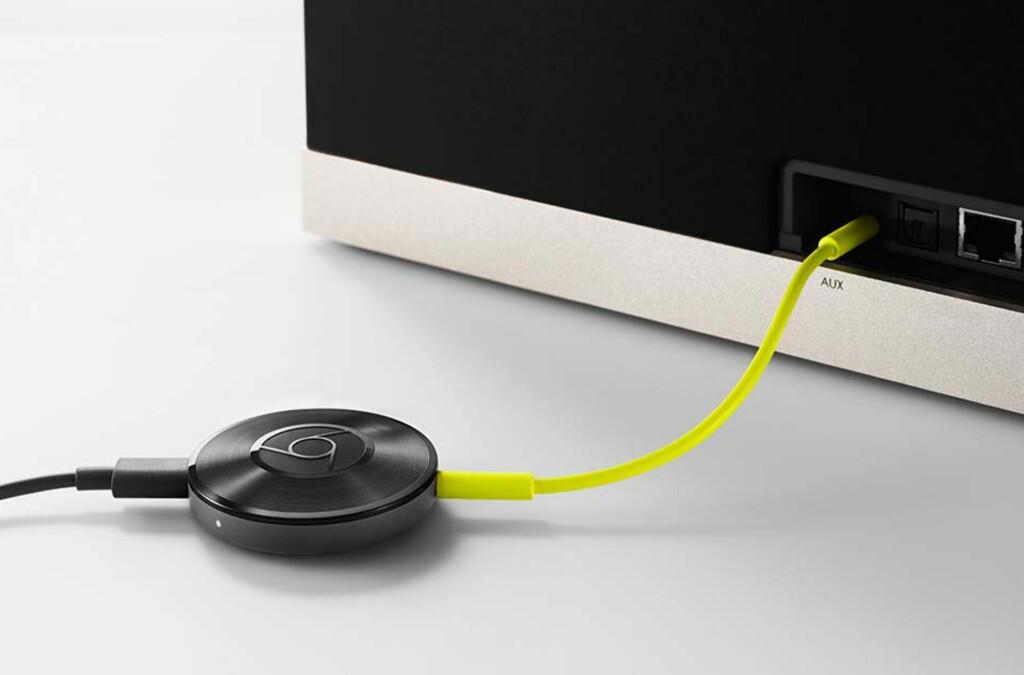 Chromecast Audio gjør selv 80-tallsanlegg trådløse. Det er bare ett av fem gavetips fra Dinsides teknologiredaksjon. Foto: GOOGLE