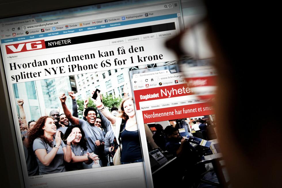 SLIK LURER DE DEG: Nettsvindlere blir mer og mer kreative, og forfalsker gjerne avisartikler som blant annet lover deg den nyeste iPhone-modellen til én krone. Foto: OLE PETTER BAUGERØD STOKKE