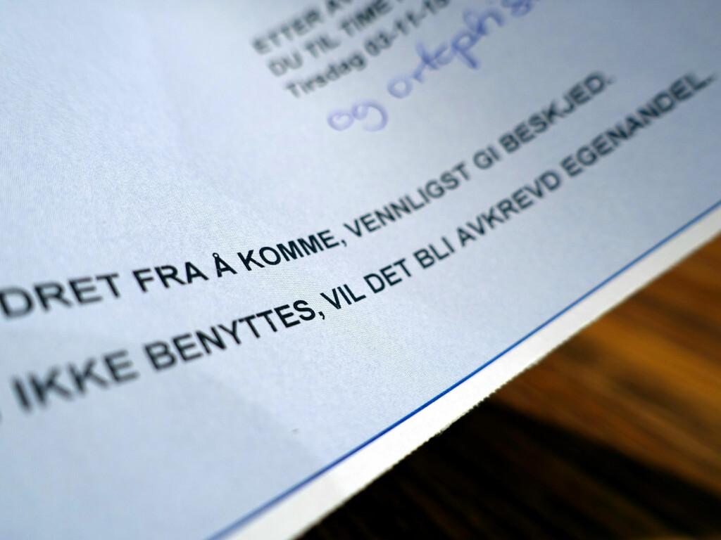 DU AVKREVES EGENANDEL: Møter du ikke til timen, vil du bli avkrevd egenandel. Foto: KRISTIN SØRDAL